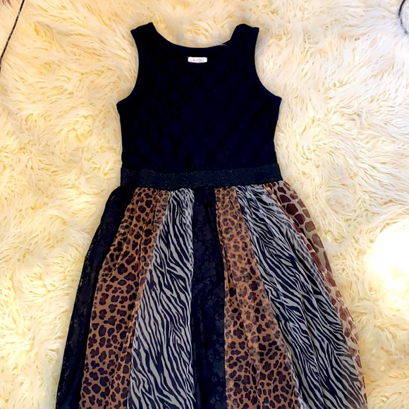 Children's Place animal print black dress!